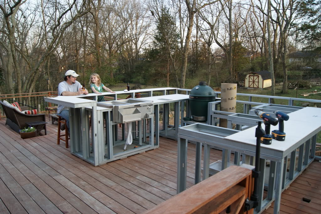 ... Outdoor Kitchen Long ... & Outdoor Kitchen Countertop Framing - Kitchen Appliances Tips And Review